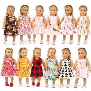 18 Inç Tek Parça Elbise Etek Külot Külot ile 12 Stilleri Için 18 Inç Amerikan Kız Bebek