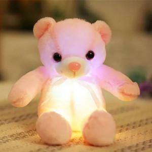 Miaoowa 32cm 크리 에이 티브 빛나는 곰 플러시 장난감 박제 테디 Led 빛 다채로운 인형 Kawaii lovely Kids 장난감 소녀 어린이 선물 Jllllx