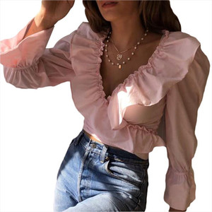 solid deep v ruffle women blouse top mujer long sleeve bluzka damska haut femme Drop Shipping