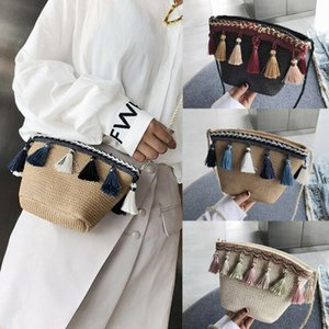 2020 Newest Hot Summer Women Fringed Ethnic Wind Woven Straw Weave Handbag Shoulder Messenger Bags Satchel Tote Purse Tassel Bag