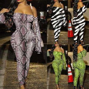 Womens Jumpsuit Off Shoulder Long Sleeve Stretch Animal Print Bodycon Romper Club Bodysuit Long Pants Drop Shipping