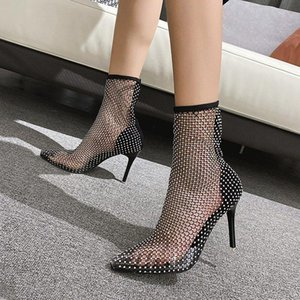 Sexy Party Women's Boots High Heels Rhinestone Ladies Shoes Bling Fashion Ankle Booties Hollow Crystal Woman Boots Drop Ship