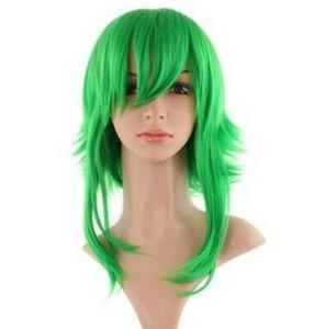 Peluca verde corta con lado largo 50cm, cosplay vocaloide gumi