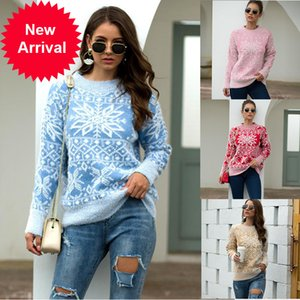Sweater de Navidad Tallas grandes Ropa de invierno para mujeres 2020 Nueva moda Moda Suéteres Coreanos Tops de manga larga Pulloters Pinkover P310