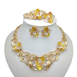 Kingdom Ma Gold Color Necklace Bracelet Earrings Ring Jewelry Sets India Women African Bridal Wedding Gifts Jewelry Sets F1202