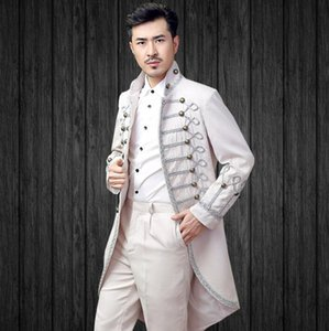 White men double breasted suits designs masculino homme terno stage costumes for singers men blazer clothes jacket star style