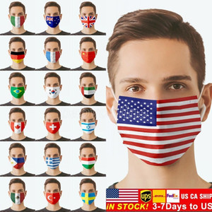 US STOCK American National Flags Face Masks For Adults Cycling Outdoor Anti Dust Windproof Washable Reusable Customize Unisex Party Mask