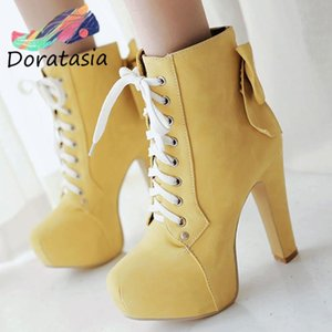 DORATASIA big size 31-43 new women fashion bowtie platform ankle shoes 2020 party boots women lcae up high heels boots