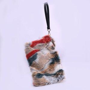 SWONCO Furry Sac pour femme Fox New embrayages Mode femme Sacs Lady mixte fausse fourrure Sacs à main d'embrayage Q1117
