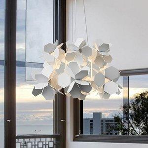 Novel LED Chandelier Modern Nordic Bar Iron hanging lights   White   Black Simple Dining Room Living Room chandelier ceiling