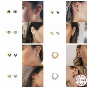 Canner European American Best-Selling S925 Sterling Silver Zircon Rhinestone Puncture Joker Ladies Stud Earrings Fine Jewelry