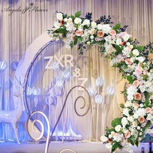 Variety of styles custom silk flore row wedding arch backdrop decor artificial flower arrangement wall ball decor flower bouquet