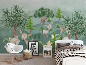 Bacal custom photo wallpaper 3D printing hand-painted cartoon animal green forest children's room background wall home decor