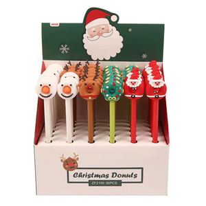 Fashion Christmas Pen crutches Cartoon Christmas Santa Snowman Claus Ballpoint Office School Stationery Pens Gel pen HWE3289