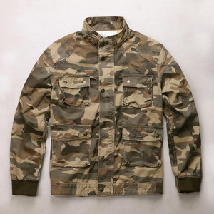 Spring New Work Jacket Men's Long Sleeve Camouflage Top Outdoor Sport Climbing Training Casual Stand Collar Cargo Coat