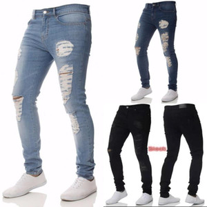 Mens Casual Skinny Jeans Pants Solid ripped jeans Ripped Beggar Knee Hole Youth Men