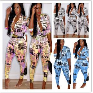 여성 Tracksuit 2 조각 세트 Sweatsuit 복장 신문 인쇄 티셔츠 풀오버 바디 콘 레깅스 바지 플러스 사이즈 여름 의류 플러스 사이즈