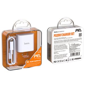 Nouvelle arrivée Chargeur HOCO C76 SUYUAN PD 20W pour iPhone 12 Téléphone mobile Tête de charge rapide Set Standard américain