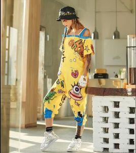 Women Jumpsuits Off The Shoulder Strap Pants For Women Yellow Cartoon Hip Hop Dance Rompers Streetwear