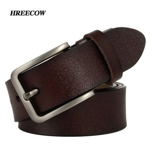 Hreeecow hommes ceinture de ceinture véritable cuir véritable bracelet de luxe couronnes mâles pour hommes nouvelle mode classique Vintage broche Boucle Dropshipping Y200520