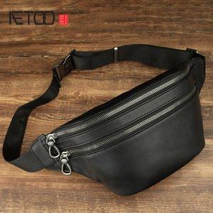 HBP AETOO Leather chest bag, men's head-layer cowhide simple one-shoulder bag, fashion fashion high-capacity stiletto bag, men's bag