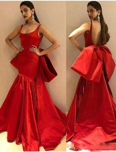 Modest Long Red Mermaid Evening Dresses with Big Bow Sexy Backless Spaghetti Straps Prom Dress Trumpet Party Gowns robes de soiree
