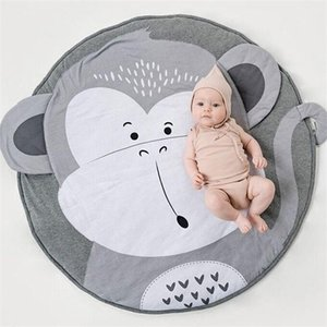 90CM Newborn Infant Crawling blanket Creative elephant Design Baby Play Mat Round Carpet Cotton Animal Playmat Kids Room Decor Q1121