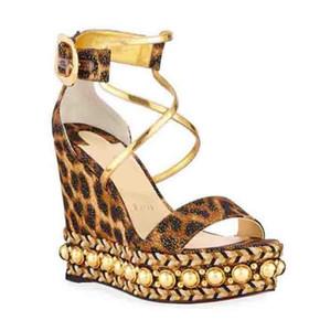 Rote Sohlen Sexy Leopard Muster Plattform Keilschuhe Frauen Sandalen Rote Untere Schuhe Chocazeppa Espadrille Damen High Heels Gladiator Sandale