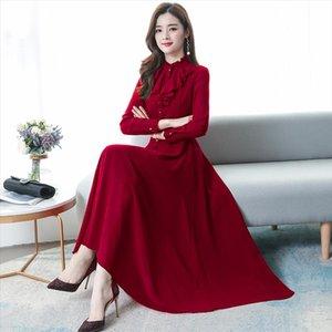 2020 Vintage Solid Chiffon Lady Maxi Dresses Autumn Winter 3XL Plus Size Long Sleeve Dress Elegant Women Bodycon Party Vestidos