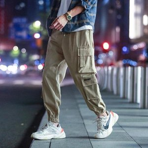 Men's Multi-pocket casual pants Hip hop men's pants Fashion Elastic waist Large size Cargo Pants High quality men's clothing 5XL #b72D