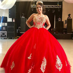 Red Lace Appliqued Ball Gown Quinceanera Dresses Sweetheart Neck Beaded Sweet 16 Dress Tulle Sweep Train Masquerade Gowns P124
