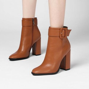 Simple Buckle Ankle Boots Woman Fashion Zipper Thick high Heel Short Boots 2020 Black Beige Brown Round Toe Brand Winter