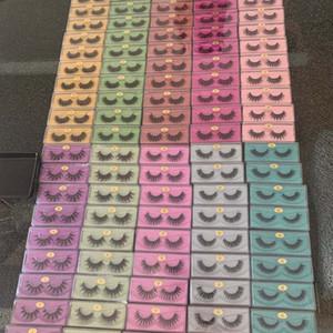 Colorful glitter scatola all'ingrosso 3D sintetico visone ciglia di bellezza trucco le ciglia del volume del volume finto ciglia finte ciglia di seta ciglia