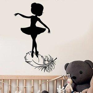 Little Girl Wall Decal Ballerina Silhouette Ballet Studio Dance Room Interior Decor Bird Feather Art Vinyl Window Stickers 1864