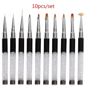 10sets Nail Art Brush Painting Drawing Carving Flat Pen Builder Acrylic Polish Rhinestone Handle Tips Design DIY Manicure Tools