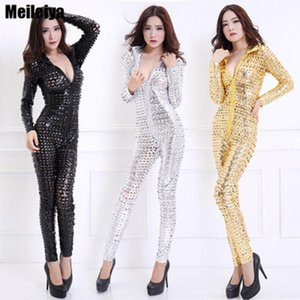 2020 New Women Dj Dance Wear Sexy Hole Jazz Ds Hip-hop Stage Performance Dance Costume Fish Scale Perspective Club Bodysuit