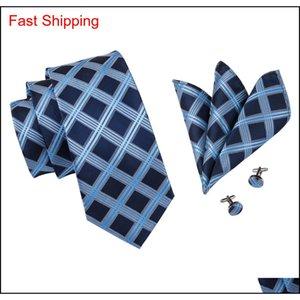 Hi-tie 100% Silk Tie Set Business Men Plaid Blue Necktie Handkerchief Cufflinks Set Ties For Men Wedding Party qylfmQ queen66