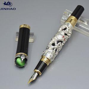 Luxo jinhao marca caneta dragão forma relevos 18k iraurita nib clássico caneta genein business office school fontes escrevendo penas de tinta suave