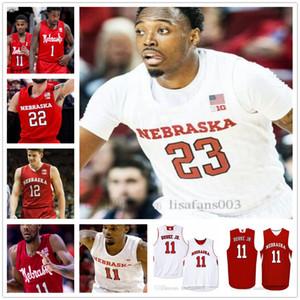 Personalizzato Nebraska Cornhuskers Basket 34 Thorsir Thorbjarnarson 25 Matej Kavas 3 Cam Mack 1 Kevin Cross 23 Jerervay Green Jersey NCAA College
