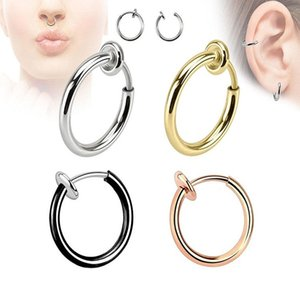 Prosthetic nose ring 16 g, retractable lip earring, cartilage earlobe clip, propeller, reverse force