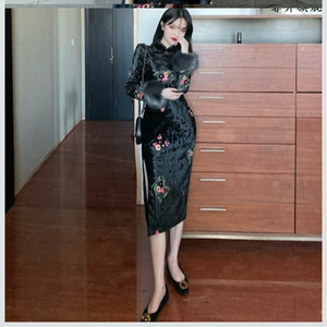 Chaopai autumn and winter new youth fashion velvet modified cheongsam daily long sleeve dress ins