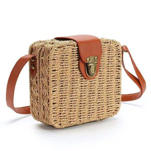 NOUVEAU Sac de paille pour femmes tissés sac à main sac à main Brochebabe Boho Beach Summer Tote Sac