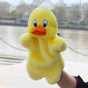 Animal Plush Hand Puppets Childhood Soft Toy Yellow Duck Shape Story Pretend Playing Dolls Toys for Children