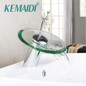 KEMAIDI RU Excellent Quality New Bathroom Basin Mixer Tap Waterfall Faucet Sink Vessel Chrome Polished Finished Glass