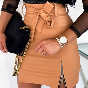 Leather PU Sexy Skirt Women New Strap Zipper High Waist Casual Bow Tie Party Night Clubwear Office Mini Hip Skirt Female Vestido
