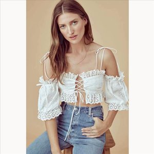 Women sexy casual Lace Embroidery Blouse Bohemian Eyelet Embroidery Ruffle Crop Tops clothes Drop Shipping Good Quality