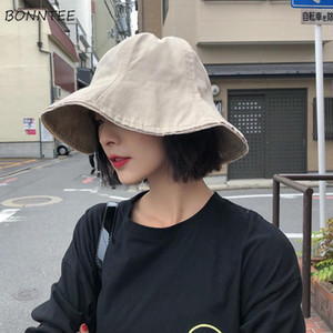 Bucket Hats Women Summer Beach Holiday Trendy Teens Sun Protector Hat Vintage Solid Japan Style All-match Fashion Womens Caps