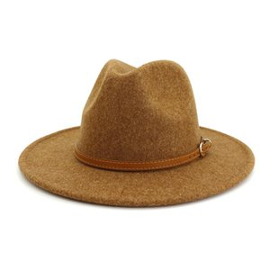 Best HOAREE Beige Wool Fedora Hat for Woman British Style Mens Fedora Hat with Belt Casual Unisex 2020 New Fall Autumn Wide Brim Hat