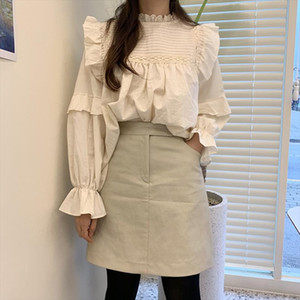 2020 Spring New Women Blouses Stand Collar Loose Pleated Ruffles Stitching Long Sleeve Doll Shirt Office Lady Blusas