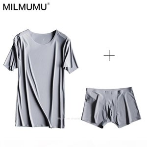 Free Shipping Hot 2019 Men's Goat Milk Ice Silk Seamless Boxer Short Sleeve T-Shirt Underwear Set Set Summer T-Shirt